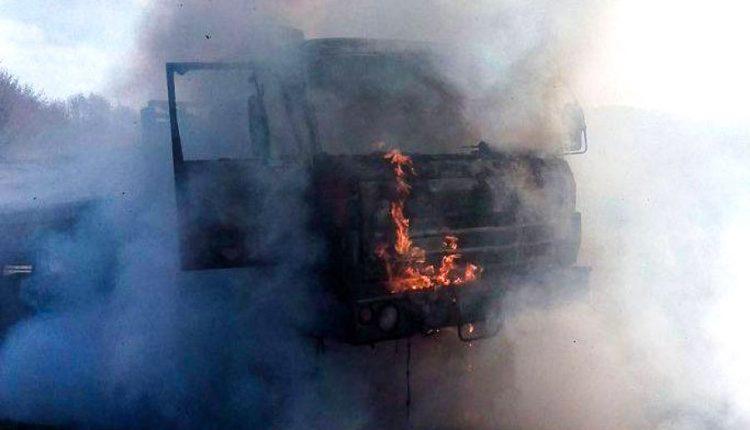 Ranný požiar nákladného vozidla na diaľnici D1